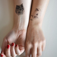 temporary tattoos - set of three fake cat tatts - 7designs to choose from - realistic tattoos - mix and match