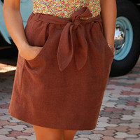 Nicole Linen Skirt with Pockets