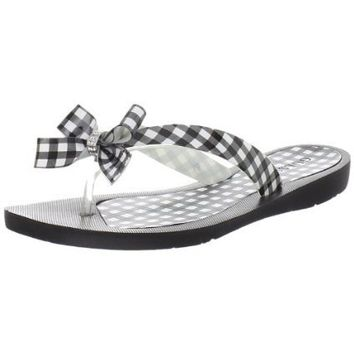 Guess Women`s Tutu5 Thong Sandal,Black Gingham,7 M US