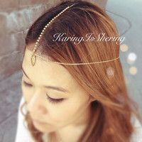 Athena Arrowhead Rhinestone Gold Chain Headpiece