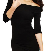 Kami Shade Black Off The Shoulder Dress