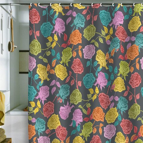 DENY Designs Home Accessories | Bianca Green Roses Red Shower Curtain