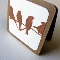Blank Mini Card Set of 4, Rustic Birds on a Wire, Kraft Envelopes, WhoIAm Design