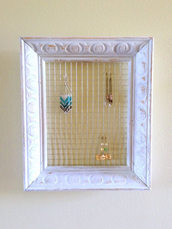 White Frame Earring Display