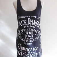 Jack Daniels Old No.7 Brand Sour Mash Tennessee Whiskey -- Jack Daniels Shirt Women Tank Top Vest Tunic Sleeveless Black T-Shirt Size S , M