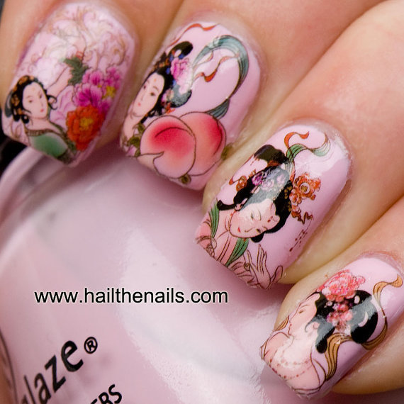 Geisha Girls Nail Art Water Transfer Decal