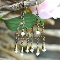Brass Pearl Chandelier Earrings