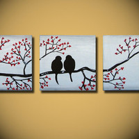 Wedding Gift, Large Love Birds Painting, 36 x 12, Acrylic Art canvas,  anniversary gift, ready to hang, ORIGINAL red flowers tree