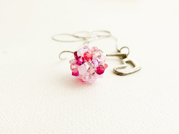 CIJ SALE Free shipping  Dreamy pink shades beaded bead ball unique pendant / necklace. Dainty  jewelry.