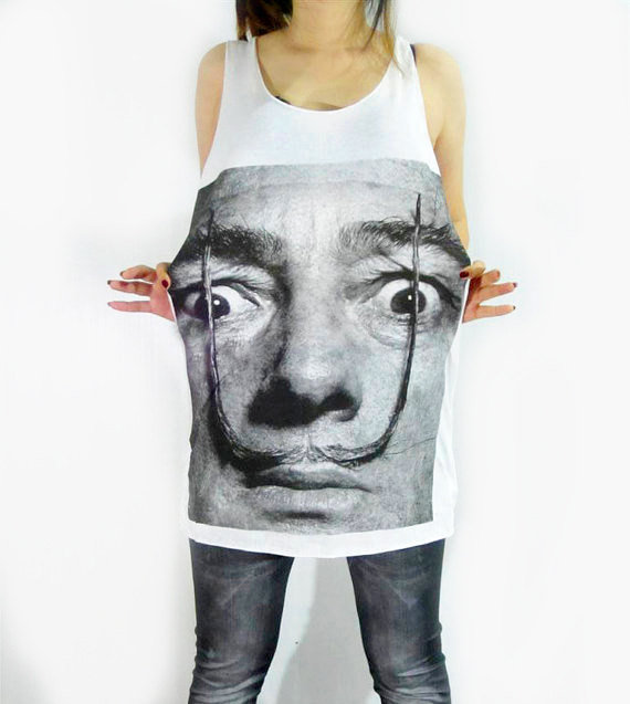 SALVADOR DALI Moustache Artist Hot Chic Design Art White Tank Top Women Tunic Top Shirt Vest Women Sleeveless Singlet Art T-Shirt Size S M