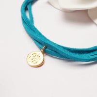 24K Gold Vermeil Ohm Charm Turquoise Leather Bracalet Hawaii