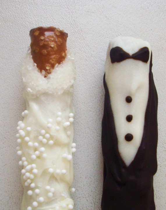 Bride Groom Chocolate Dipped Pretzel Wedding Favors