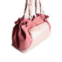 CIJ SALE - Pink Leather Shoulder Bag Large Satchel Suede Tote Bag Pink Handbag Summer Bag