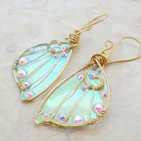 Sidhe Wings Earrings - Daoine Sith in Golden Brass- Iridescent Faery Wing Earrings - Fairy Wings - Fairie Wings