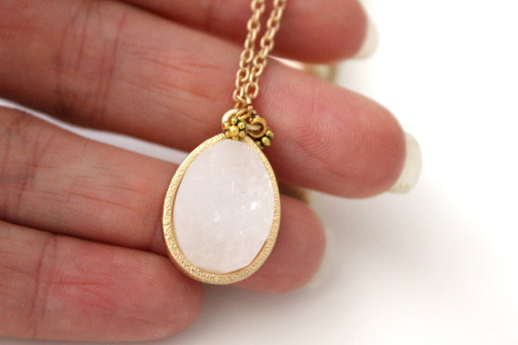 Teardrop white druzy pendant on gold chain