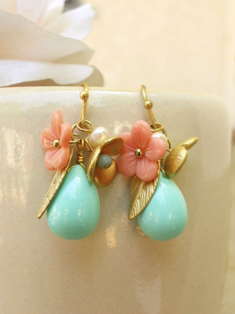 Whimsical Peony Charm Earrings [2627] - $18.00 : Vintage Inspired Clothing & Affordable Summer Dresses, deloom | Modern. Vintage. Crafted.
