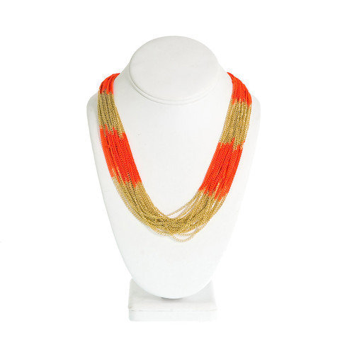 AntoniaBee — Electra Necklace-- Orange/Gold