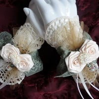 Lacy Flower Fingerless Gloves, Romantic Brides