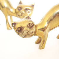 Vintage Gold Plated Mama and Baby Kitty Figurines