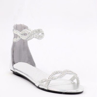 Silver Wedding Shoes, flat, rhinestones, bridesmaid shoe, bridal sandals, flats, silvershoe-800-45