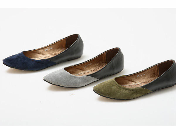YESSTYLE: Smoothie- Two-Tone Panel Pointy Flats - Free International Shipping on orders over $150