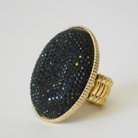 Noir Bouclé Oval Ring [2198] - $11.00 : Vintage Inspired Clothing & Affordable Summer Dresses, deloom | Modern. Vintage. Crafted.