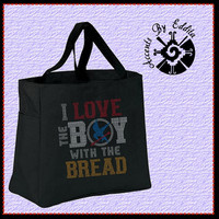 The ORIGINAL Hunger Games Inspired I Love the Boy with the Bread Sturdy Rhinestone Tote Bag (your choice of color) Team Peeta