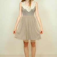 Floral Lace Front Ballerina Mesh Overlay Dress (Grey)
