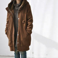 Coffee color hoodie padded Winter coat / Drawstring hood Cotton padded jacket