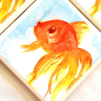 Rosie Brown Ceramic Coasters Gold Fish Single