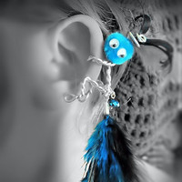Ear Cuff - Monster, Critter, Creature, Feathers, Pompom, Wire Wrap, Crystal Bead, Turquoise Black- Google Eyes- OOAK Jewelry
