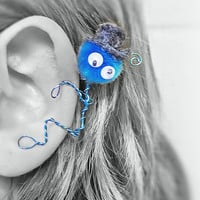 Ear Cuff - Monster, Creature, Critter, Wire Wrap, Felt Top Hat, Pompom, Google Eyes, Turquoise & Gray OOAK Jewelry