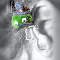 Ear Cuff - Monster, Creature, Critter, Wire Wrap, Felt Top Hat & Mustache, Pompom, Google Eyes, Green OOAK Jewelry