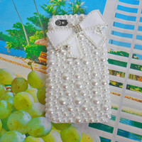 iPhone hard Case cover with artificial pearls for apple iPhone 4 case ,iPhone 4 S case,iPhone 4GS case   SJK-2303