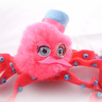 Hair Clip - Whimsical Steampunk Octopus, Top Hat, Monocle, Mustache, Pompom, Felt, Hot Pink, Baby Blue - Adorable OOAK Facinator hairclip