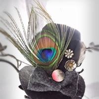 Slouched Top Hat Headband with Peacock Feather,Bow, Watch Face, Charm, Beads- Hand Sewn Felt- OOAK- One Of A Kind