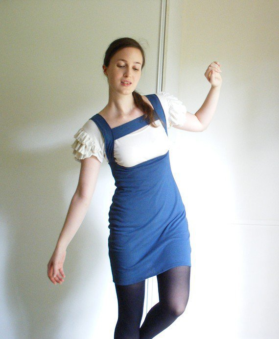 "Custom ""Madcap"" organic cotton or bamboo pinafore pencil skirt, underbust jumper, made to order- Railway Street Clothing"