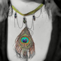 Necklace Gorgeous Peacock Feather, Up-cycled Leather/ Suede -Chains Swags -n- Drips, Crystal Beads Droplets, OOAK Jewelry