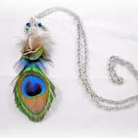 Long Feather Necklace - Peacock Feathers, Chain, Crystal Beads, Wire Wrap - OOAK Jewelry