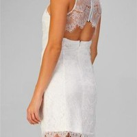 White Sleeveless Lace Dress with Open Cut Out Back