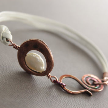 White leather copper bracelet with white pearl and swan hook clasp - made to order