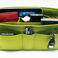 X15. Yellow-green felt bag organizer  - X large size for travel ((W 14in H 6.7in D 5.5in ), also for a school / baby bag, desk, car &amp; etc.
