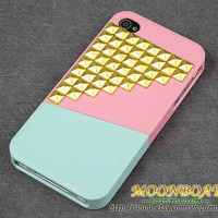 Pink Combination Cover Up And Down With Golden Pyramid Stud For Apple iPhone 4 ,  iPhone 4 Hard Case, iPhone Case MB576