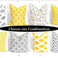 SALE.Gray and Yellow Pillows.SETS.16x16 inch Decorator Pillow Cushions.Free Shipping.Printed Fabric Front and Back