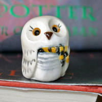 Hedwig the Snowy Hufflepuff Owl: Harry Potter Inspired Owlery Clay Miniatures