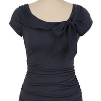 Chiffon Trim Ruched Side Top