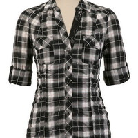 Plaid with Lace Trim Shirt