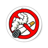 Cartoon No Smoking Sign Round Stickers from Zazzle.com