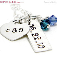 CHRISTMAS in JULY SALE Couples Keepsake - Personalized Sterling Silver Hand Stamped Necklace