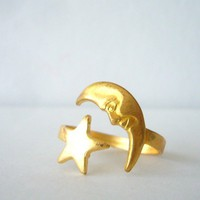 Brass Moon Ring With A Star. Wrap .. on Luulla
